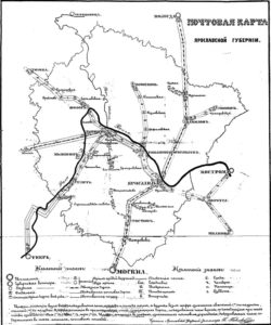 Почтовая карта Ярославской губернии 1874 г.