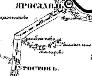 Почтовая карта Ярославской губернии 1874 г. фрагмент.