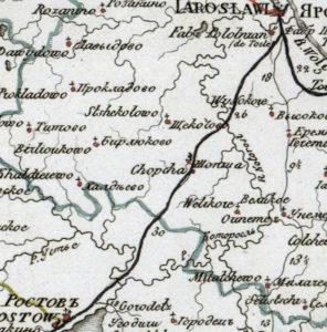 Село Шопша на генеральной карте Ярославской губернии 1822 г.