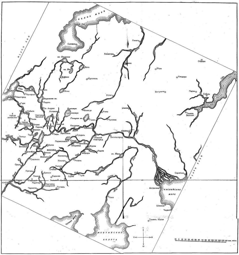 Карта Антония Вида с измененной ориентировкой