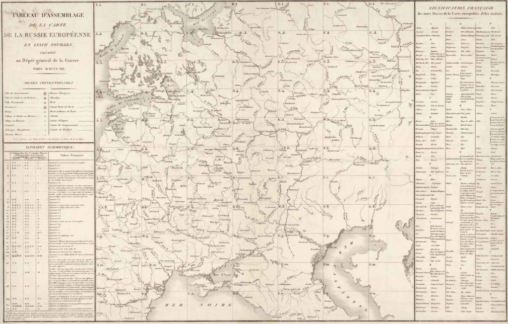 Французская карта 1812 года . Условные знаки.