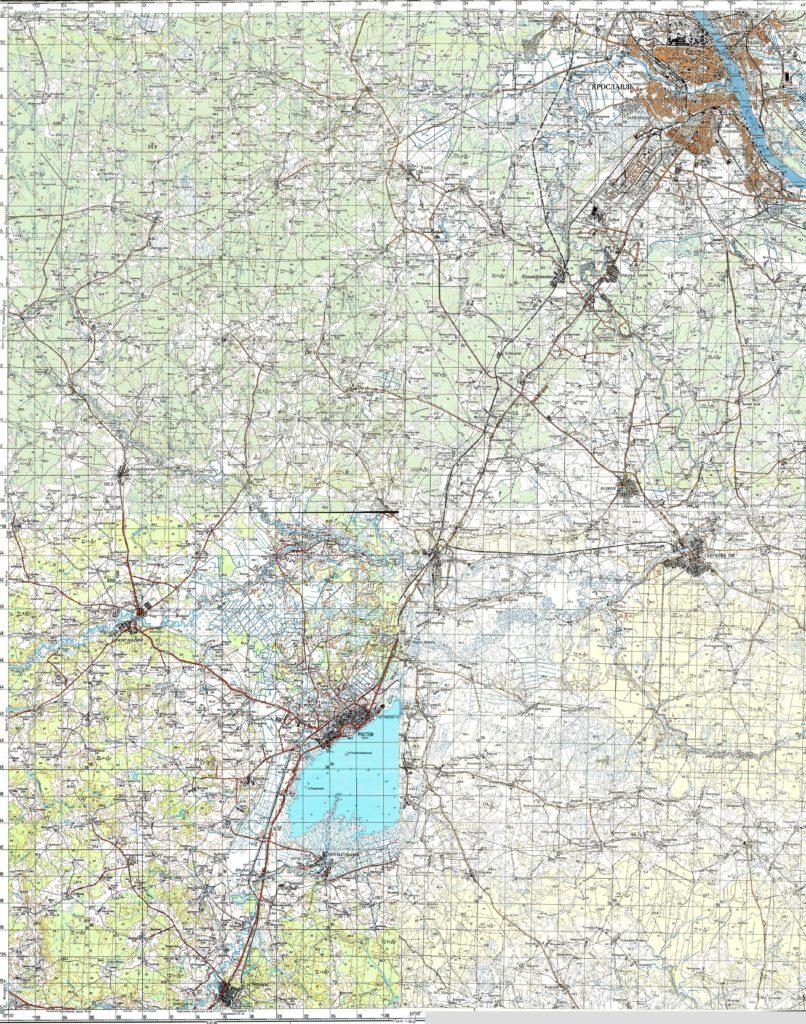 Карта генерального штаба СССР - Ростов, Ярославль