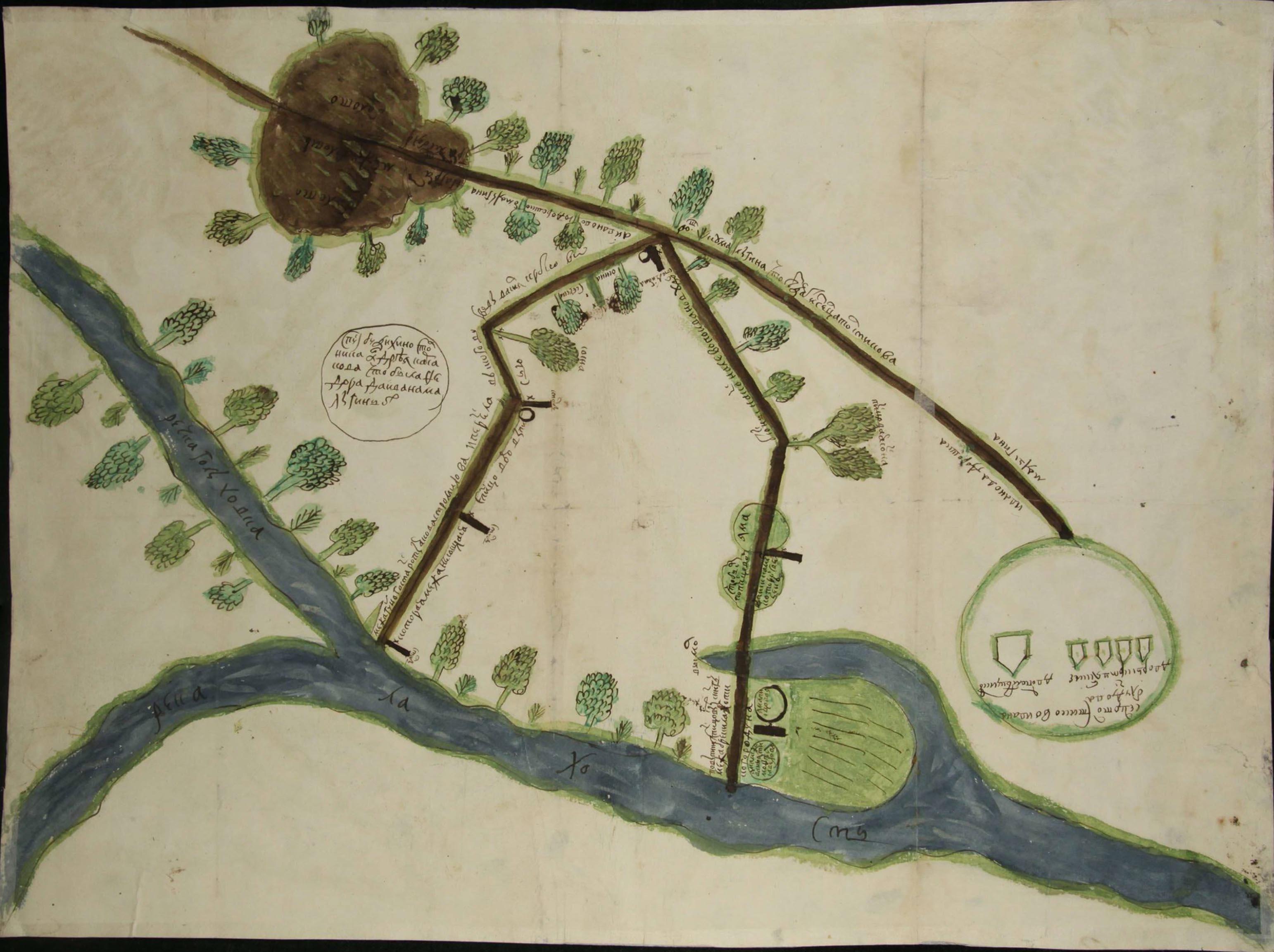 Чертеж земель по реке Лахостъ у сельца Толстикова