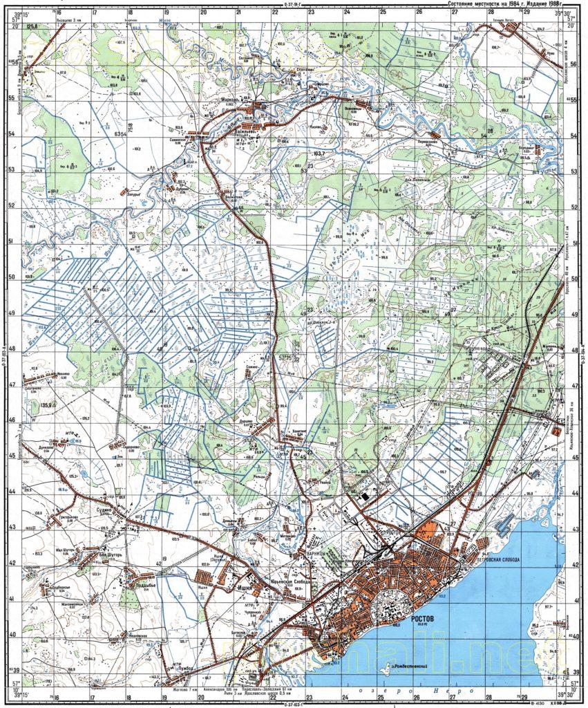 Карта Генерального Штаба СССР л. Ростов-Великий