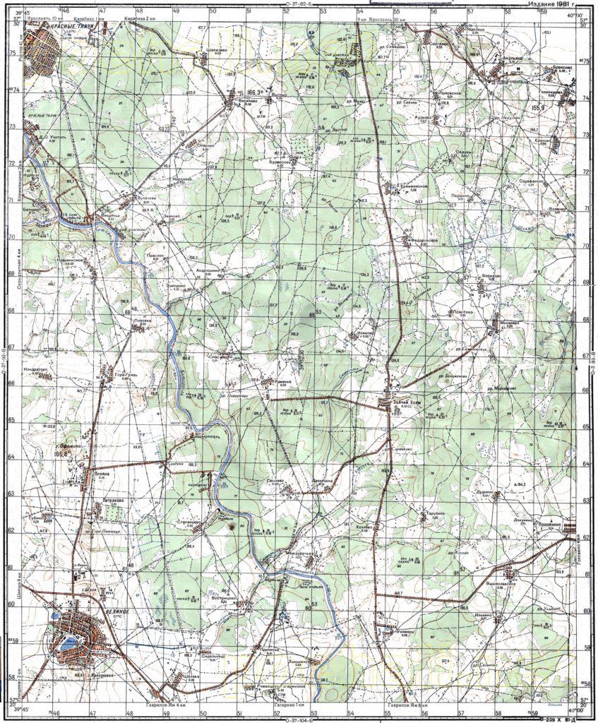 Карта Генерального Штаба СССР л. село Великое