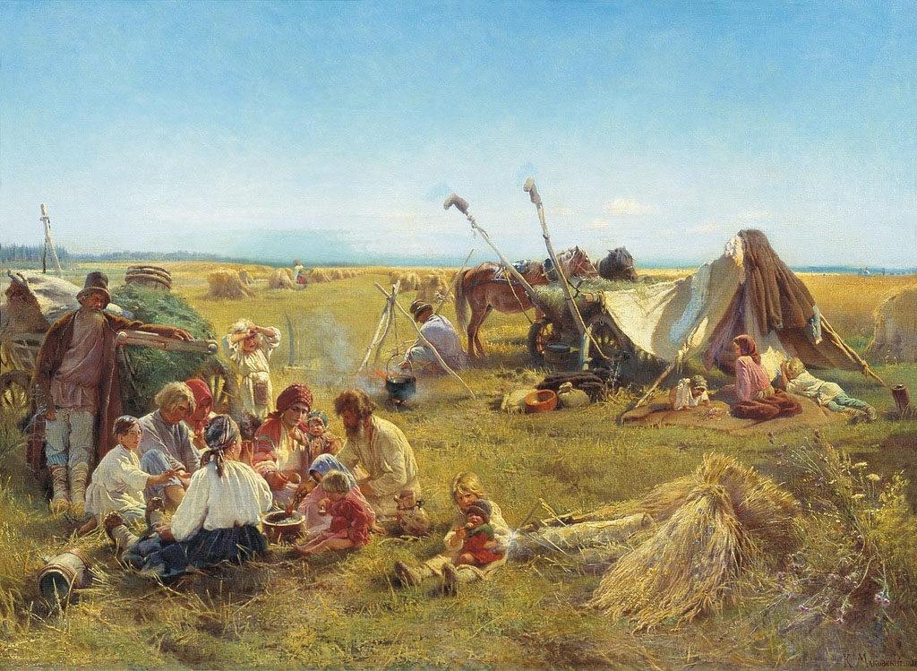 К.Е. Маковский. Крестьянский обед в поле (1871 год)