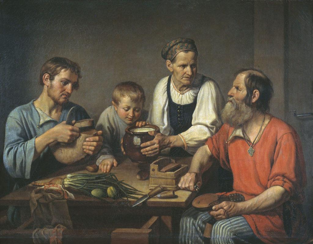 Ф.Г. Солнцев. Крестьянское семейство перед обедом, 1824 год